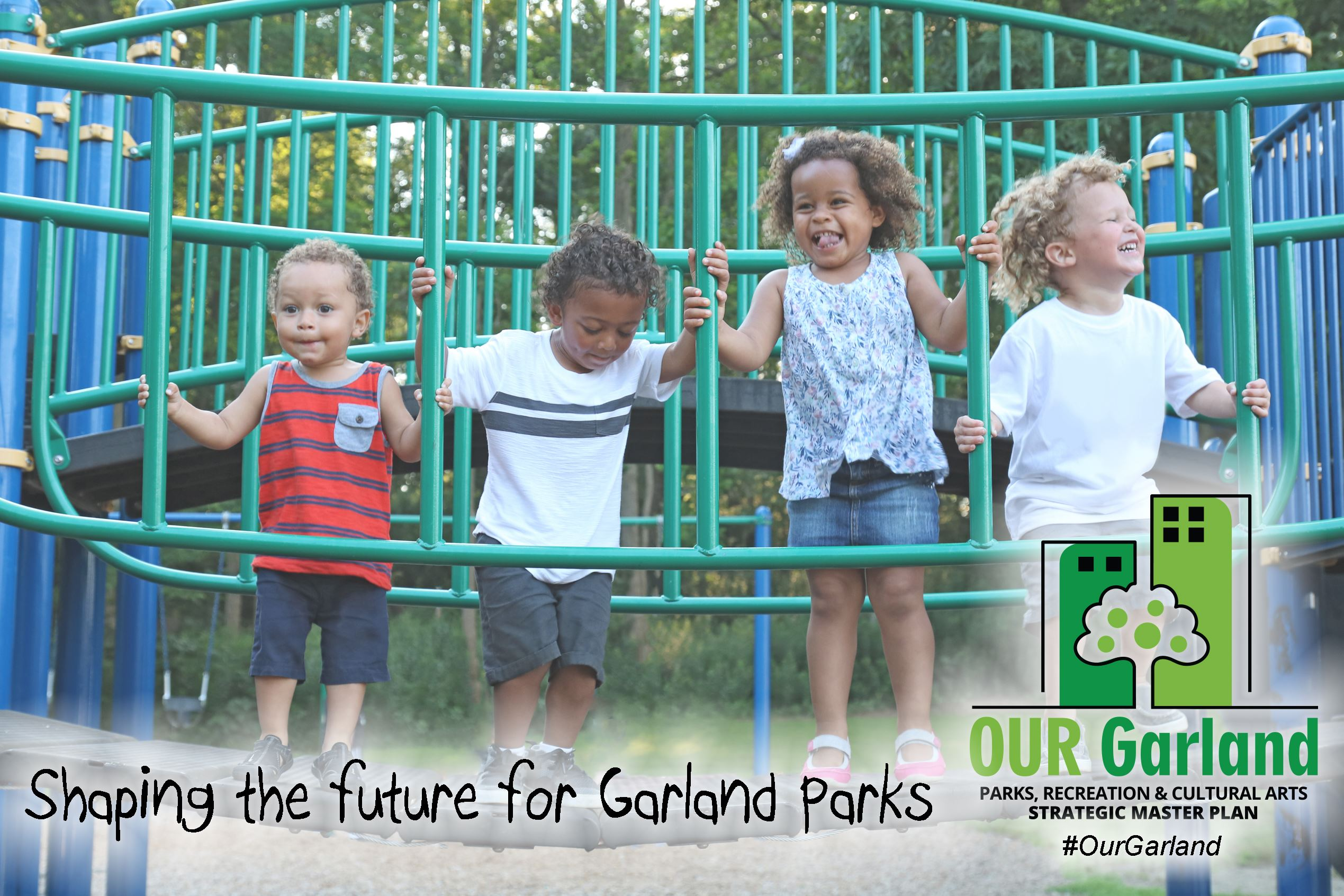 Photo of multiple kids on play structure laughing with text and logo about the Parks Master Plan